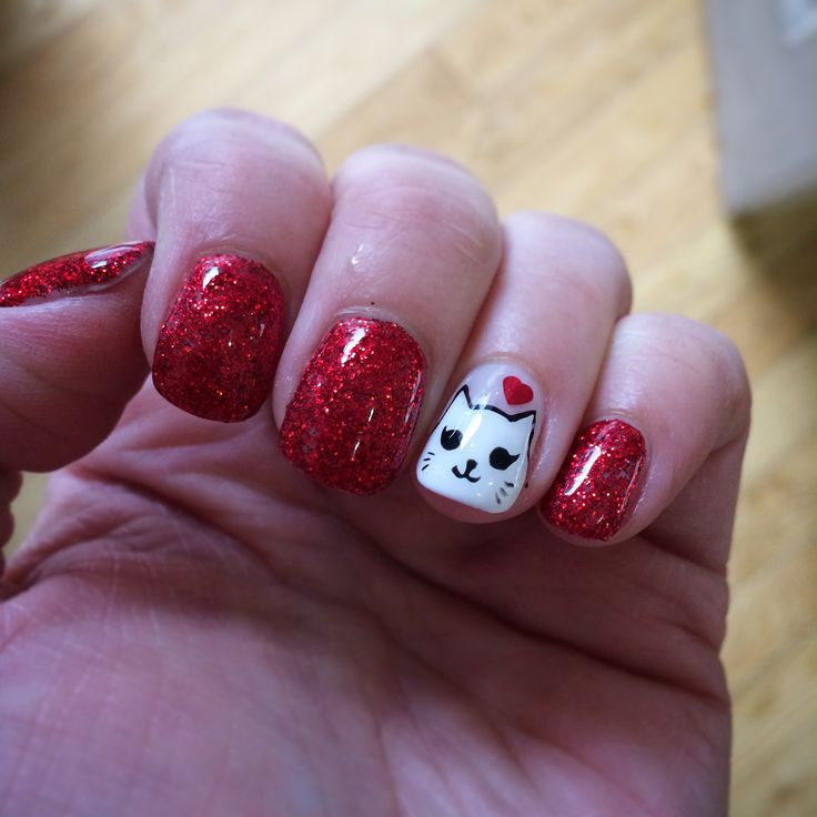 My Valentine's Day inspired nails with Kitty Cat accent nail! Love love love! This is a calgel manicure from Marie Nails.