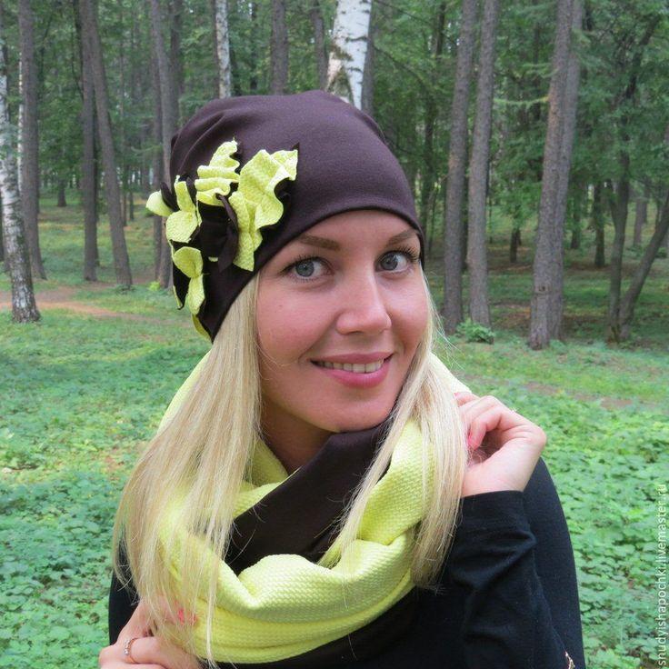 Купить Шапка и снуд из трикотажа - трикотажная шапка, подарок девушке, подарок женщине, купить шапку