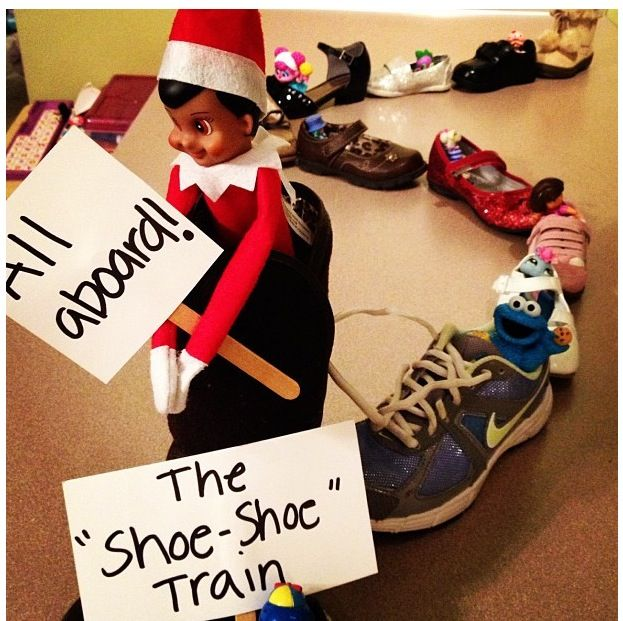 "Shoe-shoe train! - Elf on the Shelf says ""All Aboard""...."