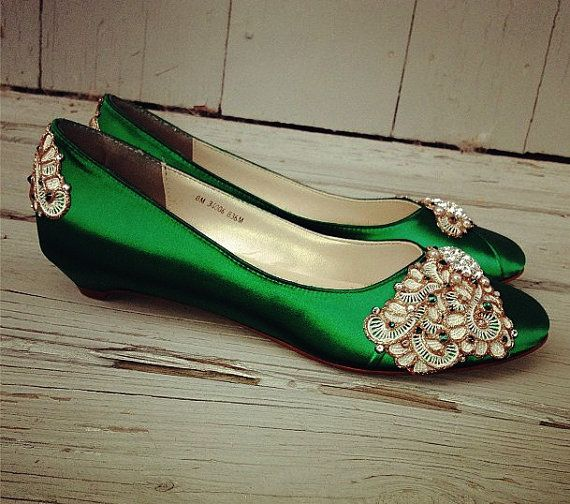 Emerald Isle Kitten Heels Wedding Shoes Any by BeholdenBridal