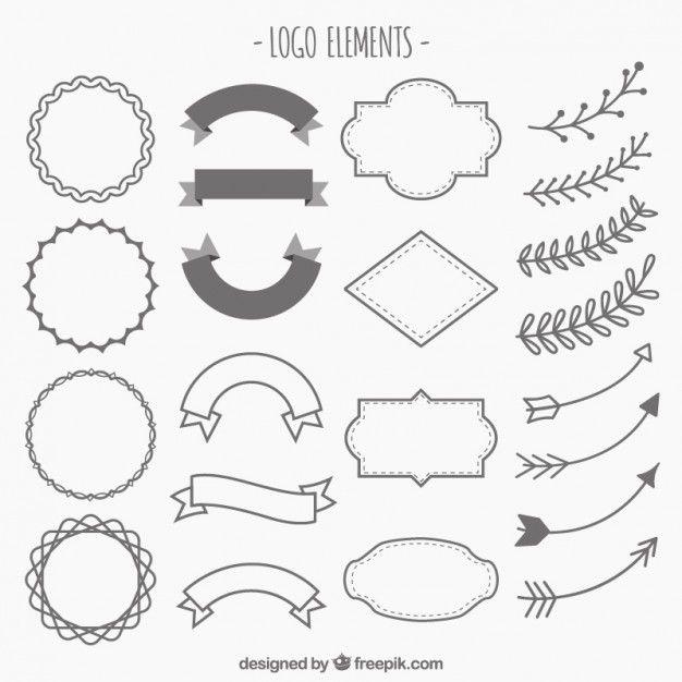 adornos dibujados a mano de logotipos Vector Gratis