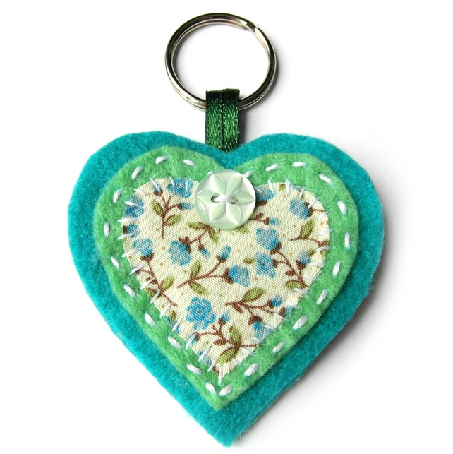 Heart Keyring or Bag Charm - Felt - Green and Turquoise Floral - Mothers Day
