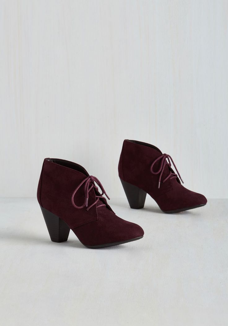 Have I Got Shoes for You! Bootie in Mulberry. Your search for the perfect pair is over, all thanks to these burgundy booties! #purple #modcloth