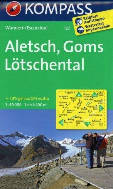 Wandelkaart 122 Aletsch - Goms - Lötschental | Kompass | 9783850269124 | Reisboekwinkel De Zwerver