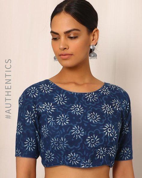 62ad100c78011f Indigo Handblock Print Cotton Blouse in 2019   Lakshika   Blouse ...