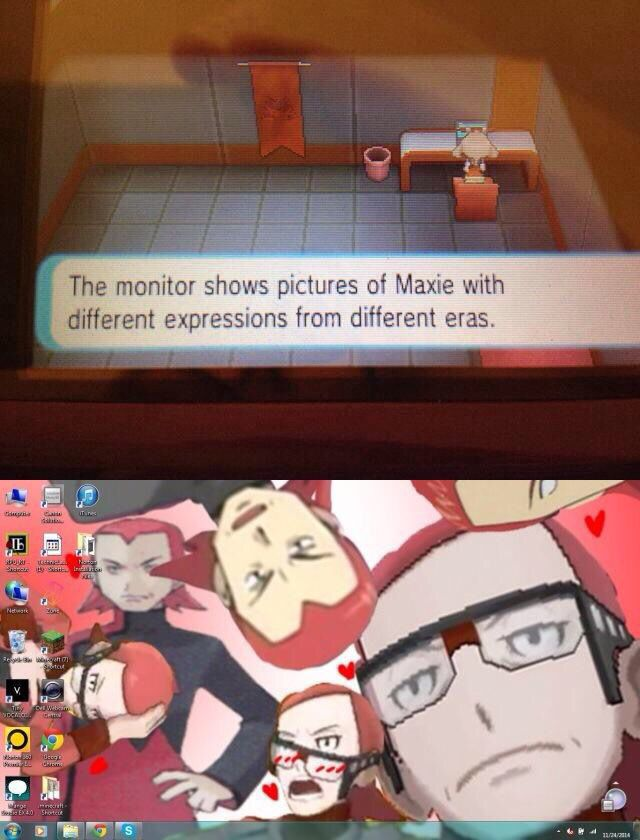 Pokemon ORAS (ahaha)....and can we all remember that it was Courtney's room? Why on earth does she have those pictures? Plus I guess the post game also reaffirmed her crush on him....·~·