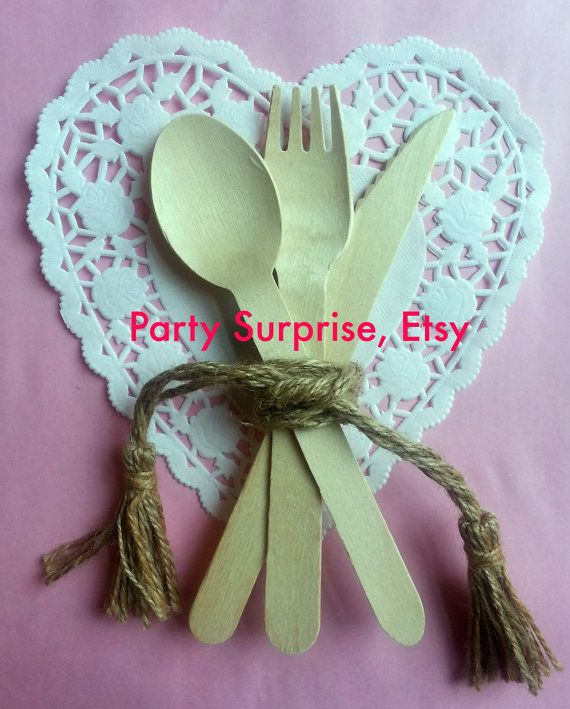 Wooden Cutlery Set Rustic Wedding Silverware Wood by PartySurprise