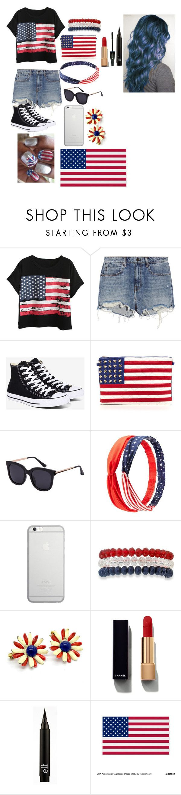 """Happy Fourth of July!!"" by gglloyd ❤ liked on Polyvore featuring Chicnova Fashion, Alexander Wang, Converse, Charlotte Russe, Native Union, Kim Rogers, Chanel, Lancôme and WALL"