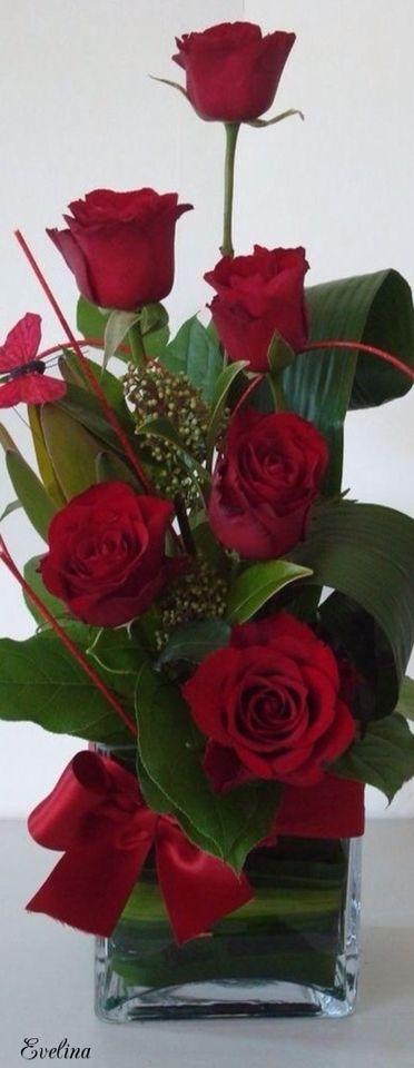 Gorgeous flower arrangement ideas | Red roses                                                                                                                                                                                 More