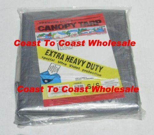 20x20 3 Layer Heavy Duty, Silver Canopy Awning Shade Tarp by CTCW. $79.00. For all kind of outdoor activities.. Top Quality H/D.. Silver Color reflects sunlight keeps covered matterials cooler.. Reinforced plastic corner caps, see Pictures above.. Grommets every 18 inches for more secure fit.. Cover Almost Whatever You Want, Car, Boat, Swimming Pool and much more?.20' x 20' (finish size about 19.5 x 19.5 in most tarps) 3 layer Heavy Duty, Silver Canopy Tarp. Waterproo...