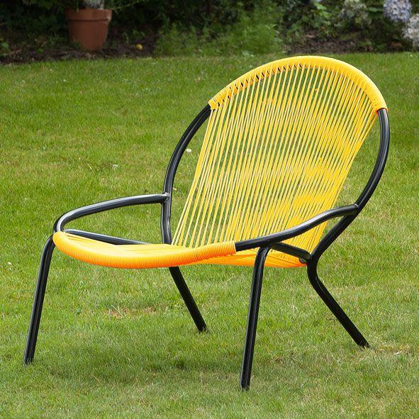 fauteuil bas de jardin en acier et fils pvc relaax jaune pinterest fauteuil bas acier. Black Bedroom Furniture Sets. Home Design Ideas