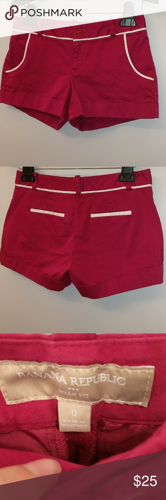 Banana Republic Ryan Fit Raspberry Shorts Banana Republic Ryan Fit raspberry colored shorts. Front pockets. I have 2 other colors available.  I tend to have problems finding pants/shorts that fit because there is often a gap in the back.  These fit me well and there is no gap! Banana Republic Shorts