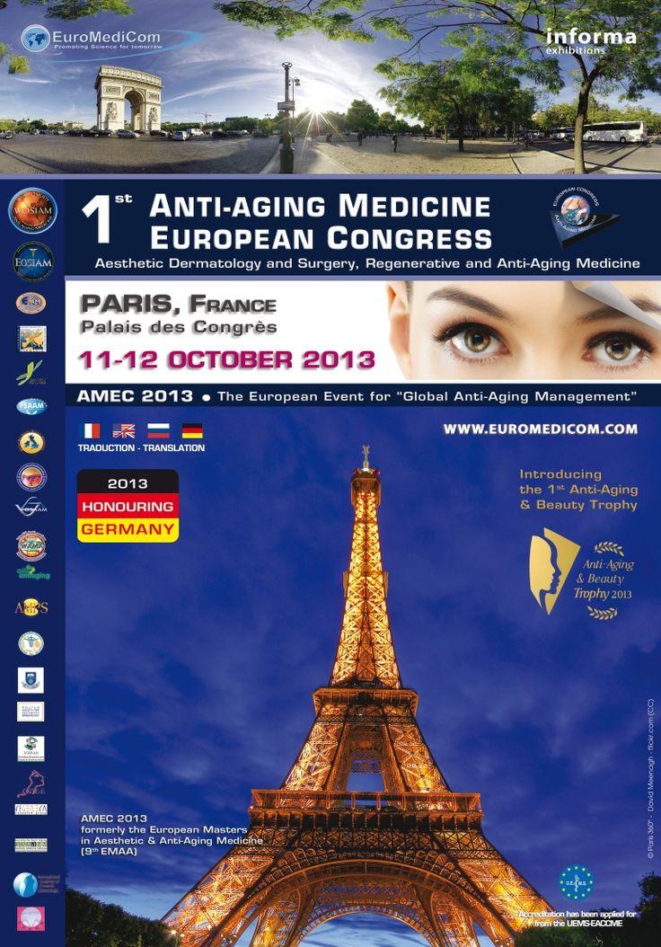 The 1st Anti-aging Medicine European Congress, AMEC, 2013: http://www.tumkongreler.com/kongre/1st-anti-aging-medicine-european-congress-amec-2013 #dermatology #paris #france