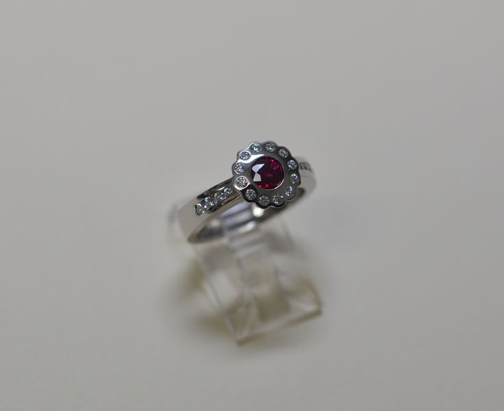 18ct white gold Ruby and Diamond ring.