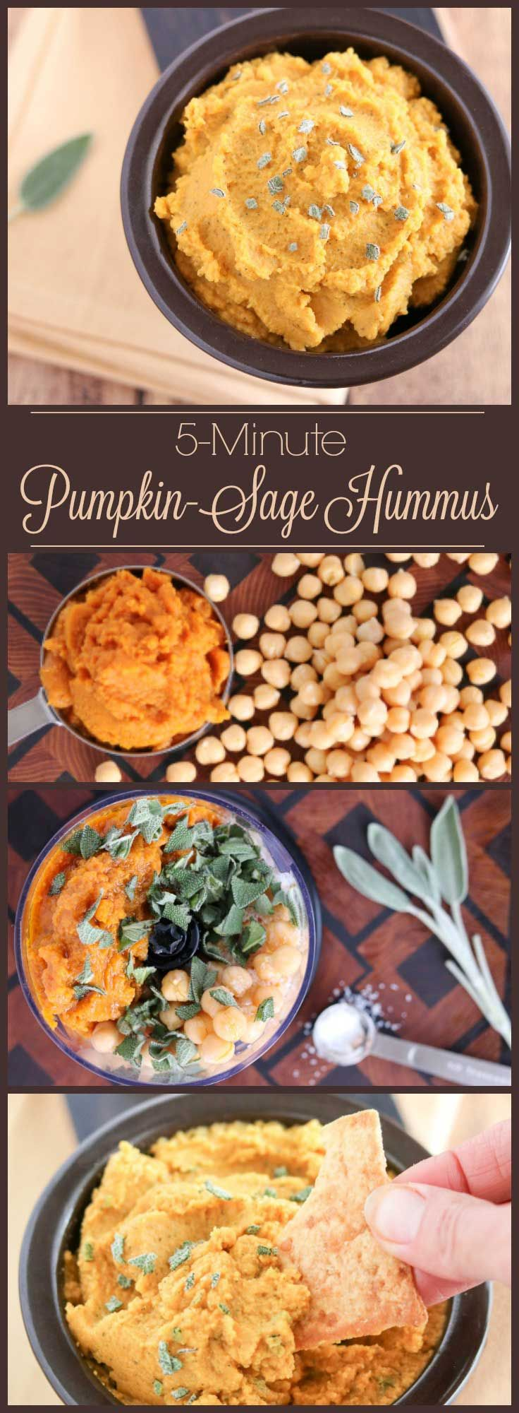 Thanksgiving Appetizer - 5 ingredients, ready in 5 minutes! This delicious Savory Pumpkin Hummus is filled with the rich, comforting flavors of pumpkin and sage. It's an ideal Halloween snack, Thanksgiving appetizer, or holiday hors d'oeuvre. A quick, healthy appetizer recipe that can even be made ahead! Great for parties, and for snacking – a healthy hummus recipe that's great anytime! If you're looking for pumpkin recipes, this is a must-try! | www.TwoHealthyKitchens.com