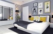 Aranżacja sypialni wystrój nowoczesny w kolorach biały, czarny, szary - projekt wnętrza #6620353, Homplex