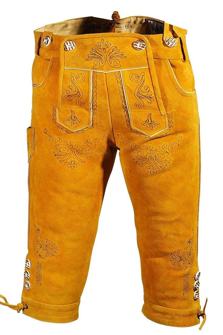 Bohmberg Damen Trachten Lederhose Goldgelb Kniebund aus feinem Rindsvelour Leder mit Hosenträger 2016er Kollektion!!! #damen #trachten #leaderhosen von @Dirndloutlet