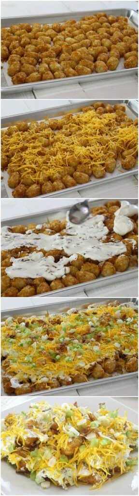The BEST Totchos! Tater Tot Nachos Recipe cheese, bacon, sour cream and whatever other great toppings you can dream up. Perfect one pan appetizer for a crowd!