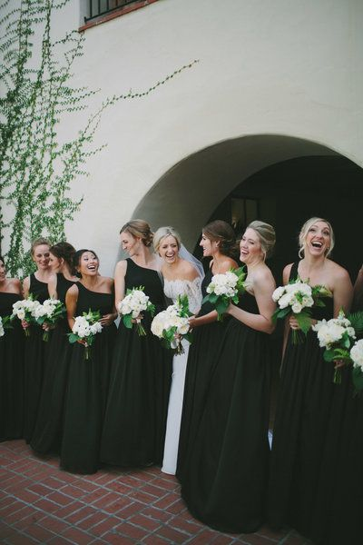 Black Bridesmaids Gowns, Black and white wedding colors, white bouquets, black tie wedding, wedding up do's, Santa Barbara Wedding, Four Seasons Wedding