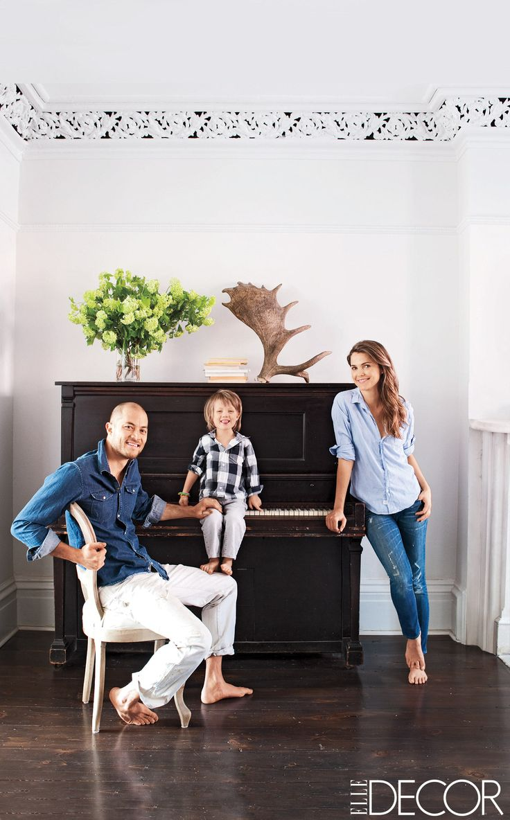Actress Keri Russell and her husband, Shane Deary, with their son,    River, at their home in Brooklyn, New York.   - ELLEDecor.com