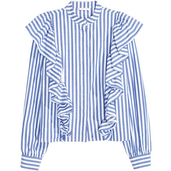 Ruffled Blouse $49.99 (653.870 IDR) ❤ liked on Polyvore featuring tops, blouses, flutter sleeve top, blue striped blouse, ruffle sleeve blouse, striped blouse and ruffle top