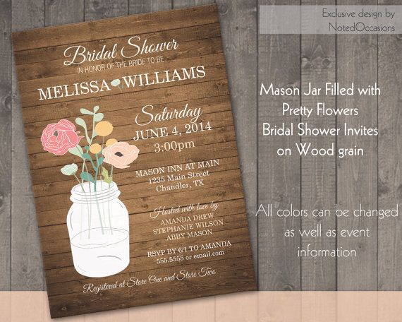 Mason Jar Bridal Shower Invitations Floral by NotedOccasions ...