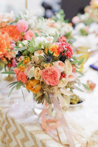 Sasha +Katya | Orange Chevron Wedding | #julyevent #flowerslovers