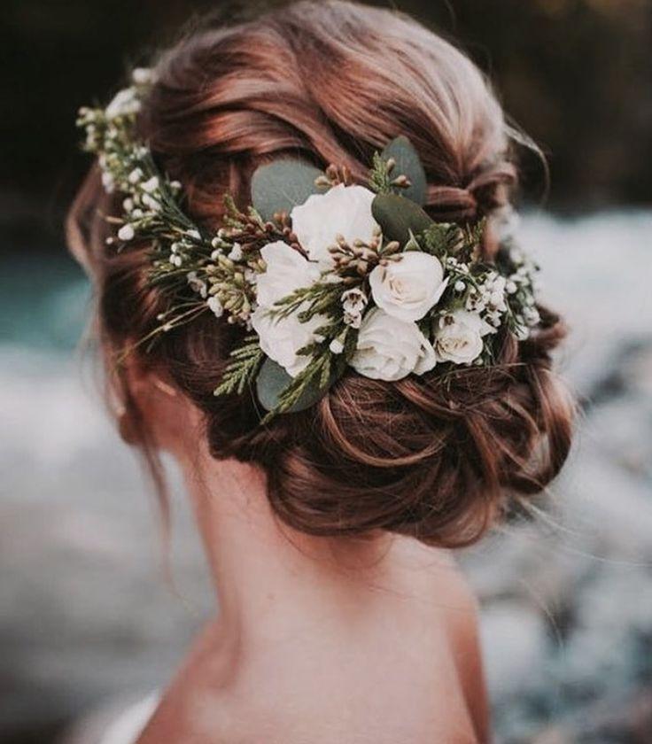 Flower crown rustic wedding hair