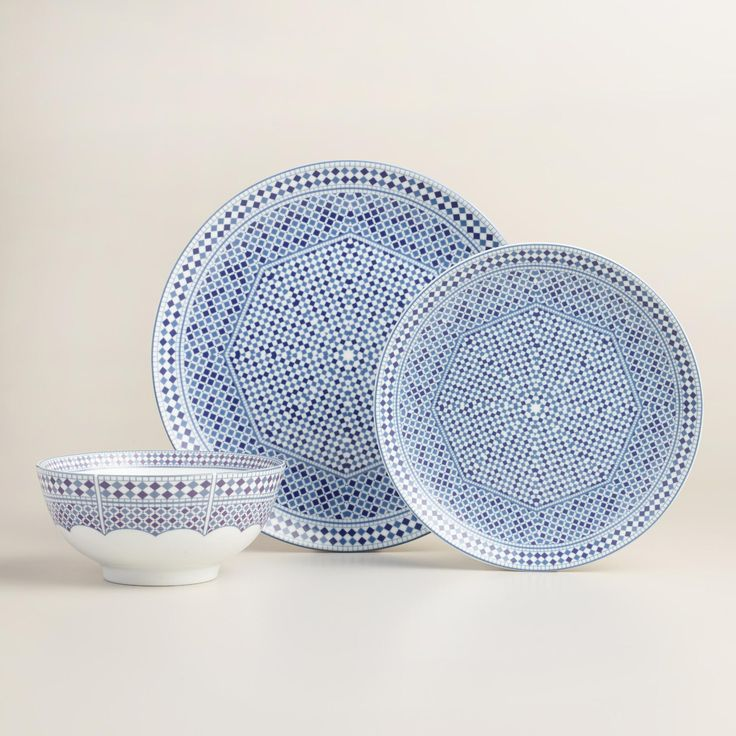 Inspired by traditional Moroccan tiles an elaborate geometric design style similar to a mosaic our blue and white dinnerware brings sunbaked ... & The 12 best Dinner plates images on Pinterest | Dining sets Dinner ...