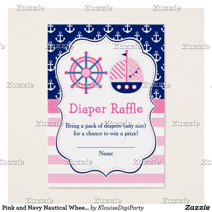 Pink and Navy Nautical Wheel Diaper Raffle Business Card