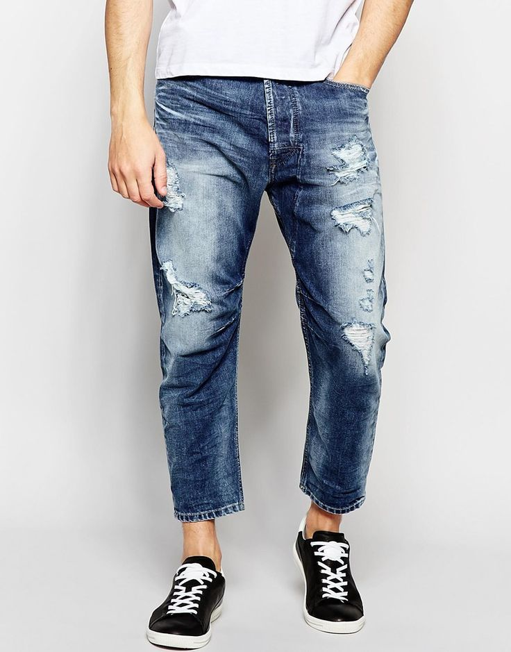 Diesel+Jeans+Narrot+848I+Extreme+Tapered+Fit+Cropped+Heavy+Distress