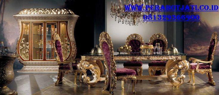 Jual Set Meja Kursi Makan Ukir Gold Super Mewah Olivia | Meja Makan 6 Kursi Ukir Royal