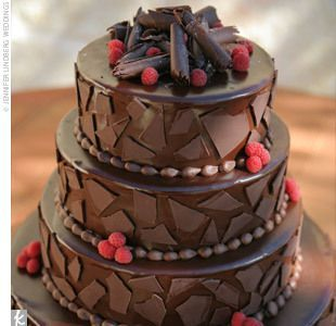 Could do just the top tier for a small group, masculine cake, fairly simple with ganache.