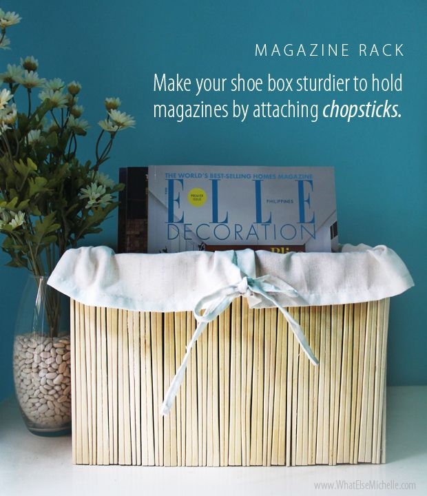 Create a chic magazine rack or plant box using just a shoe box and chopsticks! How neat!