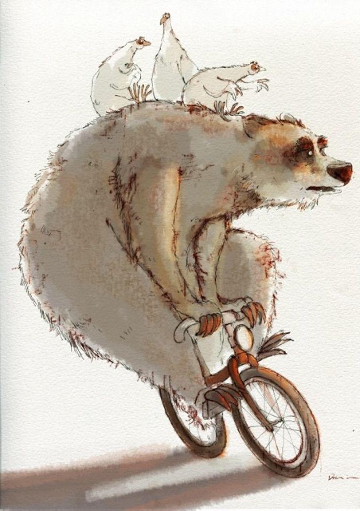 Petite balade à vélo pour l'ours blanc de Dainius Sukys : Affiches, illustrations, posters par lartderever-par-catzivi