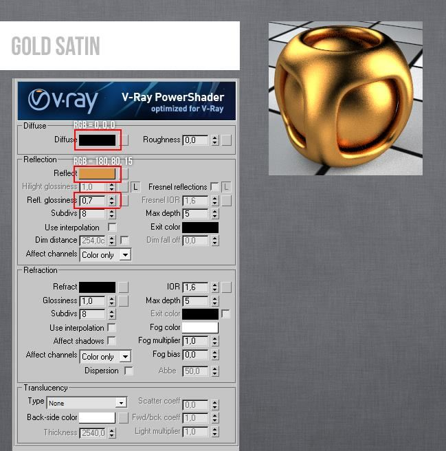 Vray V-Ray 3DS MAX Gold Satin