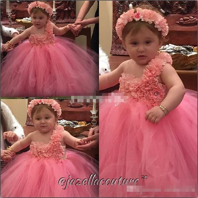 ==> [Free Shipping] Buy Best Cute Ball Gown Flower Girl Dresses Coral Tutu Flowers Beads Floor Length 2017 Cheap Girls Pageant Dress Baby Toddler Party Gowns Online with LOWEST Price | 32728359802
