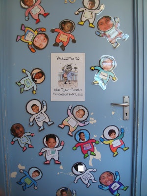 Great idea for studio door featuring pictures of current students, we can change astronaut cut-outs into shooting stars and the students will love it