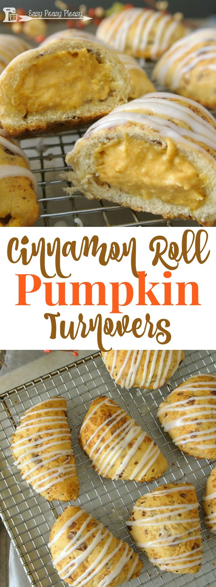 Easy 5 Ingredient Cinnamon Roll Pumpkin Turnovers are delicious with the help of canned cinnamon rolls.