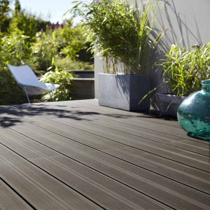 lame bois leroy merlin promo lame pour terrasse achat planche composite grafik 2 noir anthracite - Comment Monter Une Terrasse En Composite
