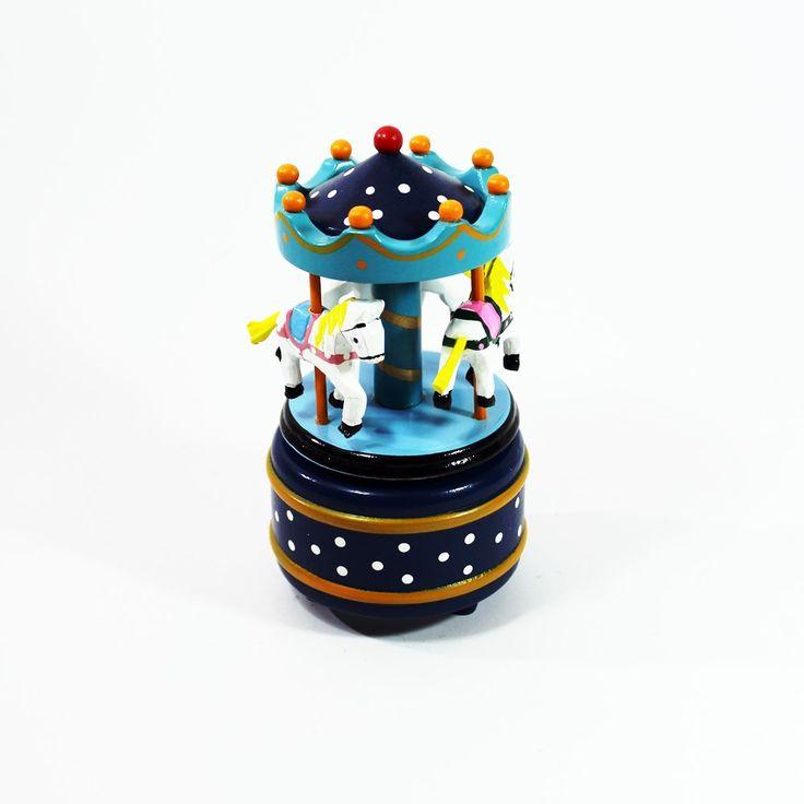 Carrosséis - Carrossel em Madeira Azul - Bau da Cravus