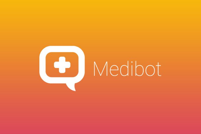 "Vector logotype ""Medibot"" for medical and support services and apps. Icnluding…"