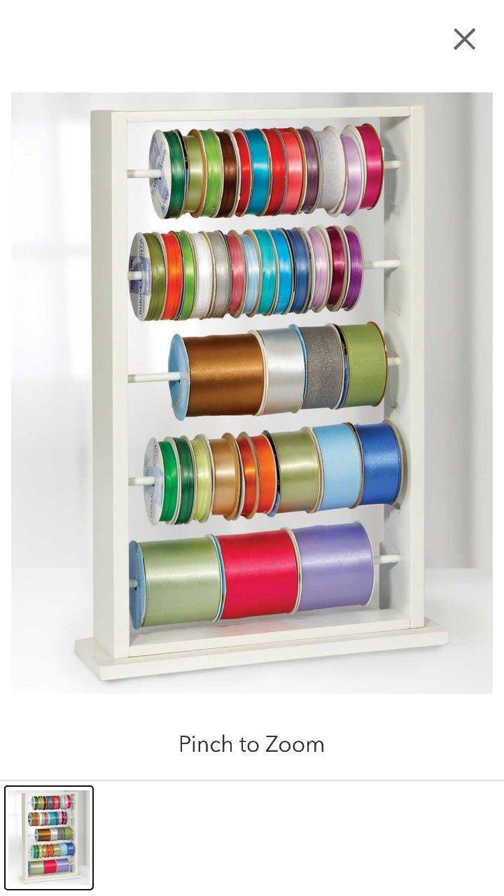 Wooden Ribbon Holder Display Ribbon Storage Ribbon Organization