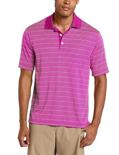 Adidas Golf Men's Climalite Two-Color Stripe Polo Shirt, http://www