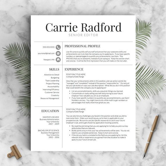 classic professional resume template for word and pages us letter 2 or 3 page resume template icons guide - Free Professional Resume Template