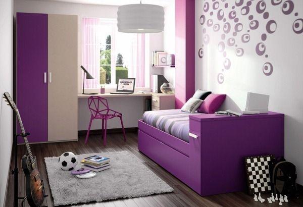 wall design dospívající dívka pokoj fialová zeď samolepky kruhy