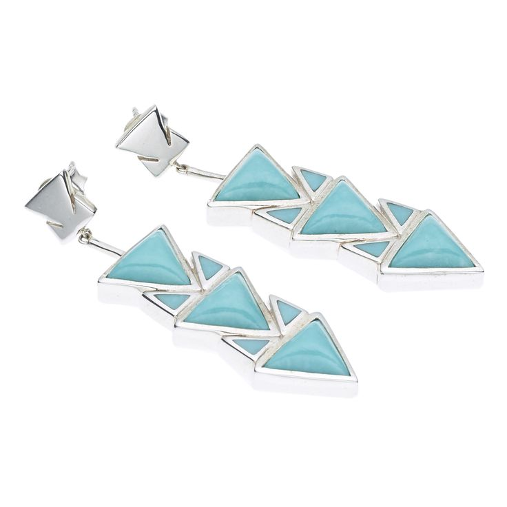 PUSHMATAAHA // SPEARHEAD DROP EARRINGS in American Turquoise with 925 Sterling Silver