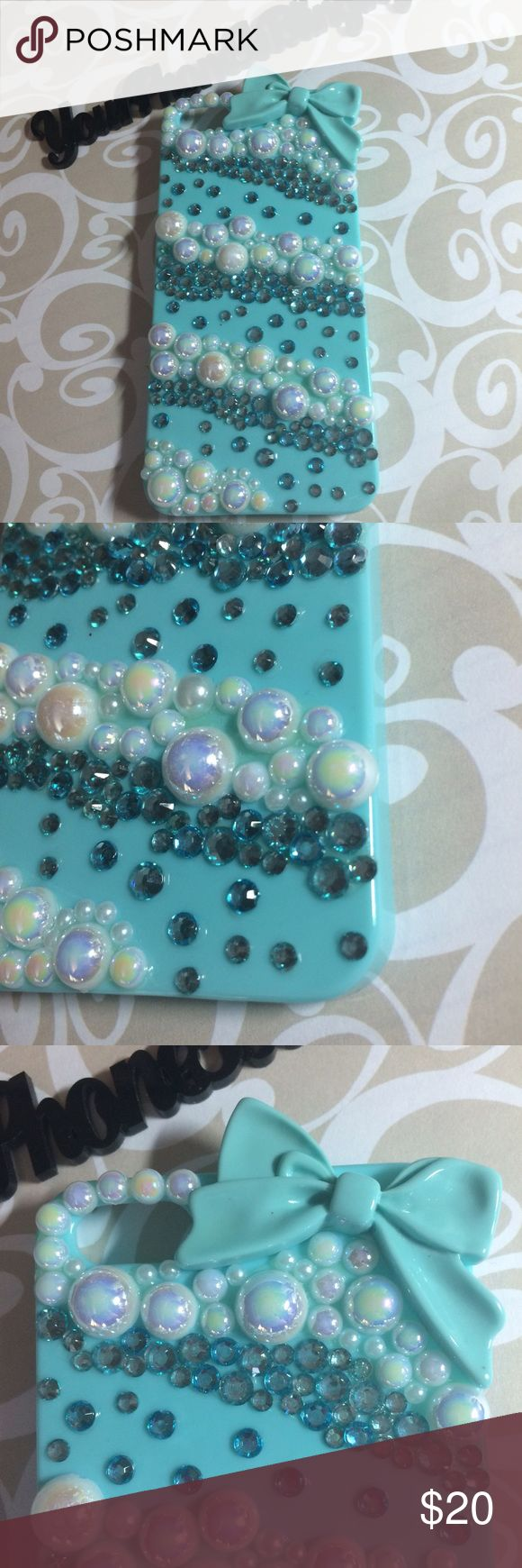 iPhone 5 s pearls and rhinestone bling case Made by me with all kinds of pictures. Let me know if you'd like another color . This case pictures is ready to mail NOW.. See my other bling cases ask any question!! Accessories Phone Cases