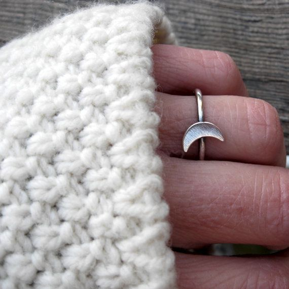 Croissant de lune bague... bague de croissant de lune en argent sterling anneau anneau lunaire d'empilage