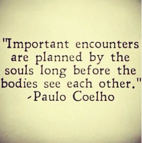 """""""Important encounters are planned by the souls long before the bodies see each other."""" - Paulo Coelho"""